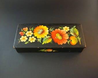 Vintage wooden box Wooden casket for jewelry box Vintage wood rustic home decor Black cascet Painted box Retro casket wooden gift