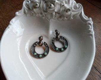 Mexican Silver and Turquoise Earrings