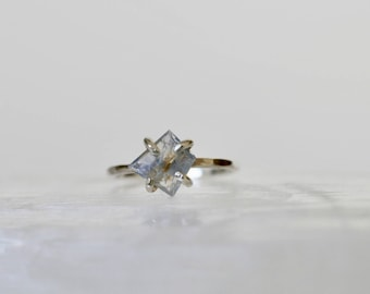 Blue Geometric cut Spinel Solitaire Ring. 14 k Gold Fill ring. Valentine's Gift. Size 5 1/4 - 6. Self Love. Gift yourself.