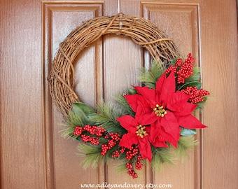 Poinsettia Wreath, Winter Wreath, Christmas Wreath, Grapevine, Red Floral Wreath, Pine Wreath