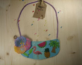 """Tropical"" faux leather bib necklace"