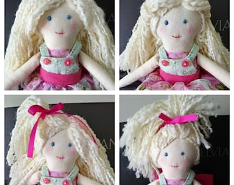 Handmade Fabric Doll 'Willow' in pink and green floral print