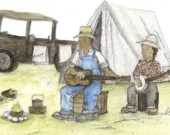 "Original Folk Art: (16"" x 20"") Musician with Guitar, Dog and Cabin"