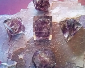 5 PIECE ORGONE AMETHYST Platonic Solids Crystal Set with Pouch, Sacred Geometry, Reiki Set