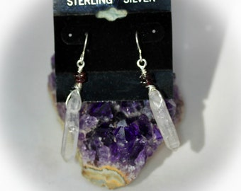 Long Clear Crystal Point Dangles, Sterling Silver EARRINGS with Twin Garnet Accents