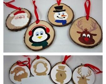 DIY Christmas Craft Project - DIY Christmas Ornament Craft Kit / Gift Tag Craft Kit - Wood Painting Kit - Set of 4 - At the North Pole