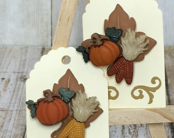 Seasonal Pins, Handmade Pins, Leaves and Pumpkin Pin
