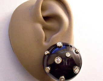 Swarovski Night Sky Black Crystal Clip On Earrings Gold Tone Vintage Large Round Domed Lucite Buttons Bezel Set Rhinestones