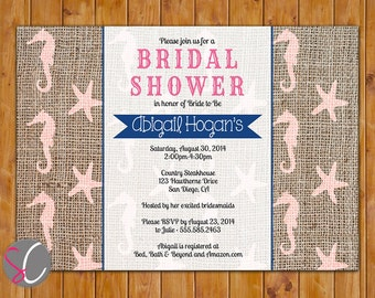 Starfish Sea Horse Ocean Beach Burlap Bridal Shower Invite Blush Navy Pink  Invitation Printable 5x7 Digital JPG (313)