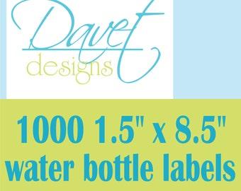 1000 Personalized Glossy WATERPROOF Water Bottle Labels