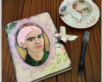 SALE Frida Kahlo Reclaimed Journal  Mix Media