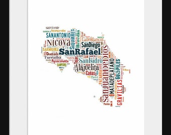Costa Rica Map Typography Poster Print Color