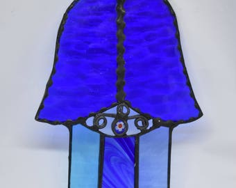 Hamsa  Glass Israel Judaica Art Evil Eye Protection Wall Home Decor Gift