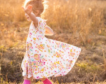 Easter Dress Spring Dress Twirly Easter Dress Toddler Dress Girl Dress Rose Summer Dress Pink Gold Blue Dress Short Sleeve Twirly Knit Dress