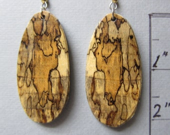 Unique Spalted Tamarind Exotic wood Large Earrings handcrafted ExoticWoodJewelryAnd Ecofriendly Earthy