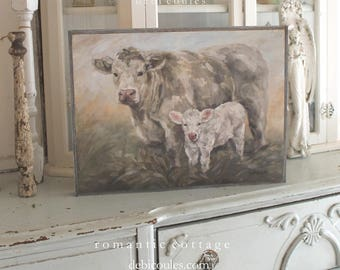 "Original ""Sweet Pea"" by Debi Coules, Printed on Wood and Framed in Barnwood"