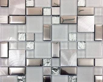 Silver Brushed Aluminum Tile White Frosted Glass Backsplash Kitchen Random Magic Metal Coated Crystal Mosaic Tiles