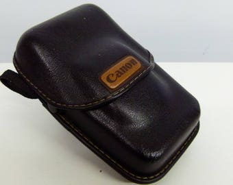 Retro Canon Moulded Leather Compact Camera Case - Ideal For 35mm Point and Shoots - Black and Tanned Leather