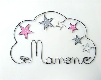"Name of customizable ""medley of stars"" wire decoration child's room"