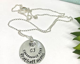 Football Mom Jewelry - Team Mom Jewelry - Hand Stamped Necklace - Personalized Team Necklace -  for Mom - Sports Mom Jewelry - Mother's Day