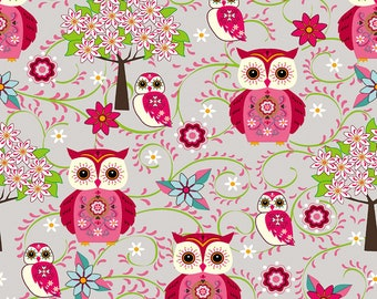 KNIT: STOF France Owls in Rose Cotton Lycra Knit.  Sold by the 1/2 yard