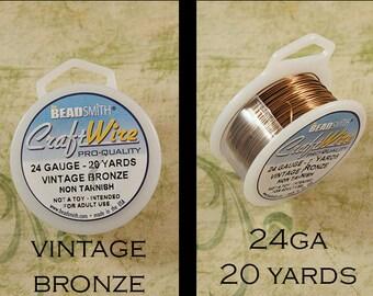 Wire - 24 Gauge - Vintage Bronze - Craft Wire - Non Tarnish - BeadSmith - 20 Yards