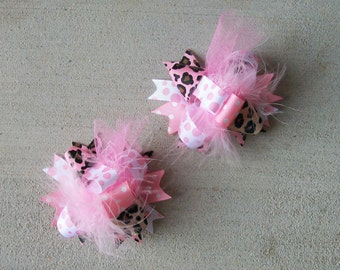 Hair Bows Set of 2---Mini Funky Fun Over the Top Bows---Shabby Chic---Light Pink Leopard