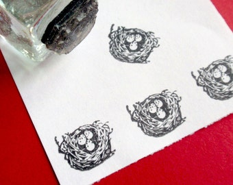 Bird Nest Rubber Stamp  -  Handmade by BlossomStamps