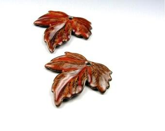 Enameled Medium Maple Leaves  / Autumn Enamel / Made to order