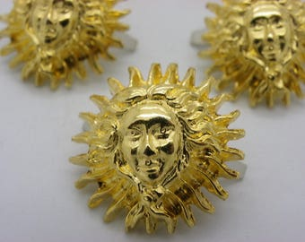 set of 4 medallions cabochons 30 mm with a gold Sun face brass