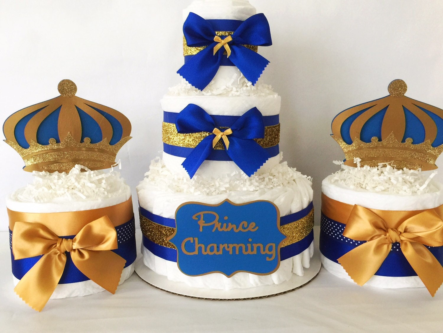 Prince charming diaper cake in royal blue and gold prince theme gallery photo gallery photo reheart Choice Image