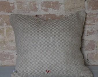Kissen aus antiken Küchen-Leinen: helle Karos / 45*40cm