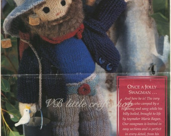 Swagman soft toy knitting pattern. Instant PDF download!