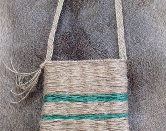Hand-Twined, Natural Jute Pouch/Bag with Genuine Finger Woven Strap