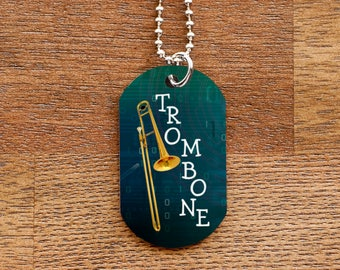 Trombone Dog Tag Necklace for Band Geeks