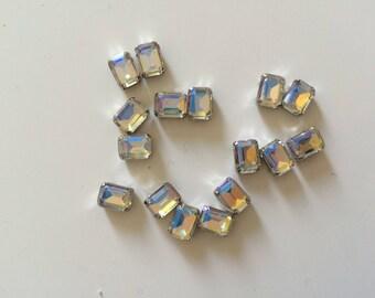 100 rhinestone sertisse 6 * 8 has sew silver Crystal AB