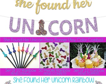 She Found Her Unicorn Bachelorette Party Penis Decor Package Penis Straws, Penis Confetti, Penis Cupcake Toppers with Feathers, Penis Banner