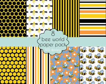 "Set of scrapbooking paper ""Bee world"""