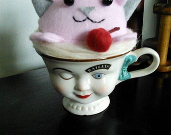 Chocolate and Cherry Purrfait Cat in a Bailey's Cup Plush Home Decor Art Doll