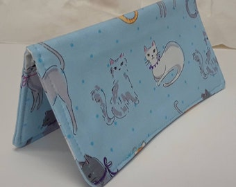 Cute Cats Checkbook Cover Coupon Holder Clutch Purse Billfold Ready-Made Blue