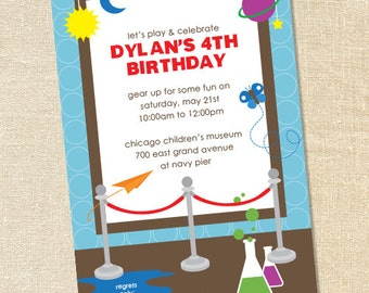 Sweet Wishes Children's Museum Science Birthday Party Invitations - PRINTED - Digital File Also Available
