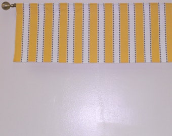 Yellow and white valance, lined valance, 42 x 16 lulu stripe
