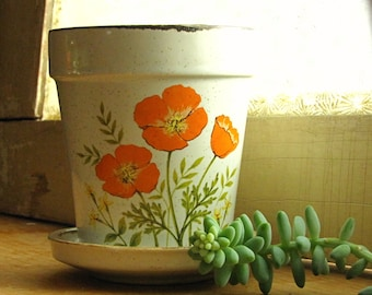 Small Vintage Speckled Orange Poppies Planter Made in Japan