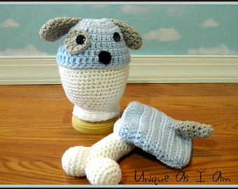 Crochet Baby Puppy Hat and Diaper Cover with Bone/Photo Prop