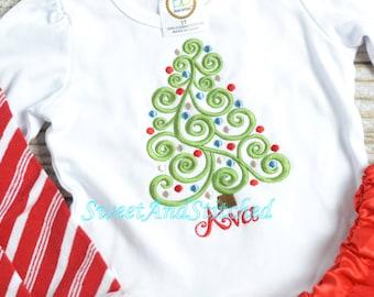 Baby girl Christmas shirt PERSONALIZED! Girls Christmas Tree Shirt, Baby girl christmas outfit, Girls christmas tee