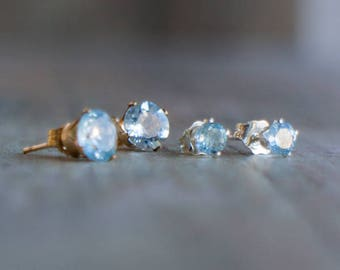 Aquamarine Ear Studs-March Birthstone