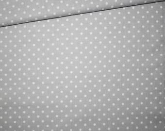 100% cotton fabric printed 50 x 160 cm pattern dots on gray background