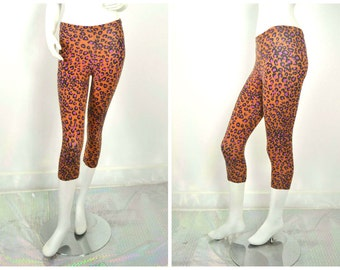 80s 90s Leopard flinstones print Orange purple Capri length workout leggings