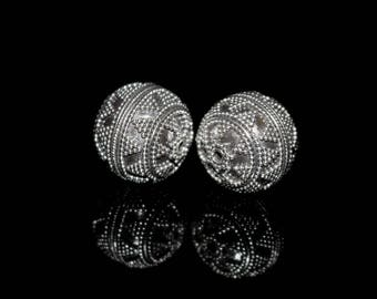 Two x 16mm Sterling Silver Bali Beads, 16mm Silver Beads, Bali Beads, Bali Beads, 16mm Silver Granulation Beads, Silver Bali Beads