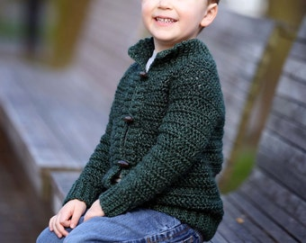 Crochet cardigan pattern, childrens cardigan, boys cardigan, girls cardigan, cardigan for children, crochet, top down, zipper or button